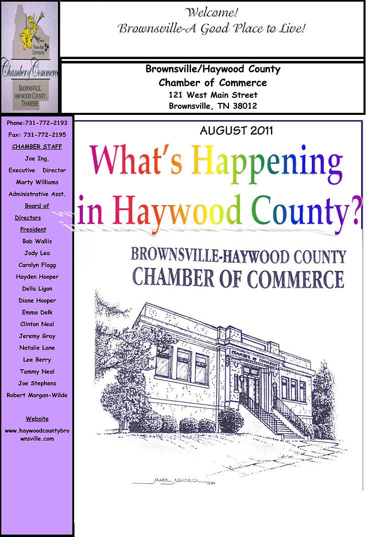 August 2011 Chamber Newsletter