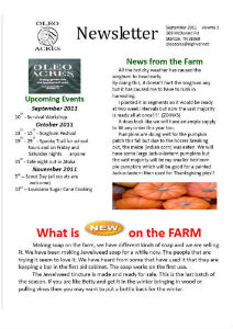 Oleo Acres Sept 2011 Newsletter
