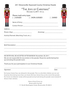 Christmas Parade Form