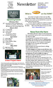 Oleo Acres January 2012 Newsletter