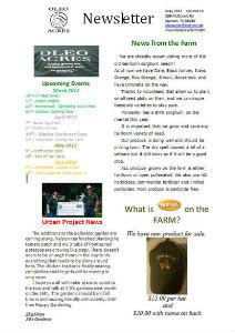 Oleo Acres May Newsletter