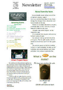 Oleo Acres May Newsletter