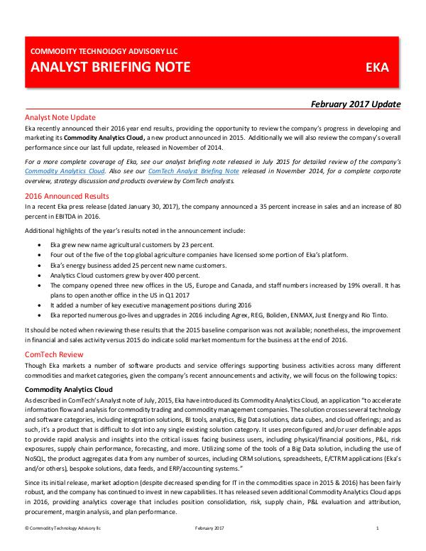 ComTech Analyst Briefing Note – EKA Update 2017
