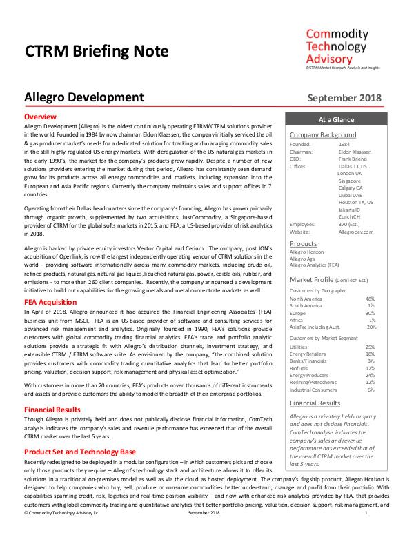 Reports CTRM Briefing Note – Allegro Development