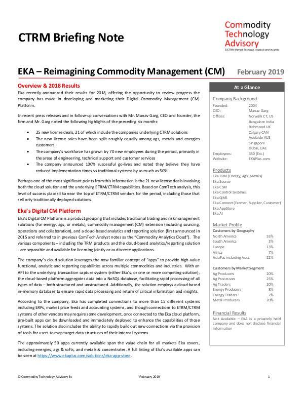 Reports EKA – Reimagining Commodity Management (CM)