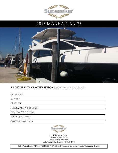 2013 Sunseeker Manhattan 73 For Sale 1