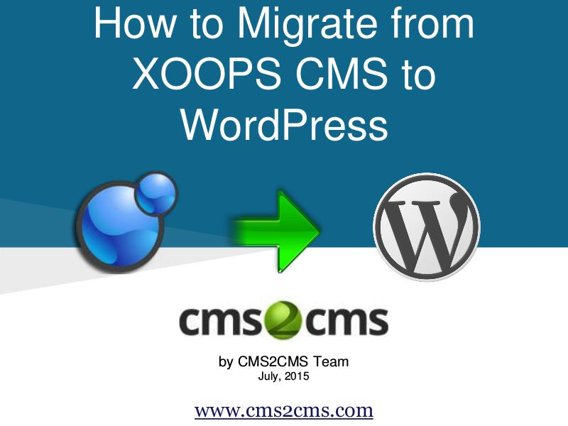 XOOPS CMS to WordPress Migration August, 2015.