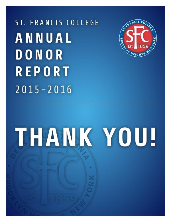 St. Francis College Donor Report 2015-2016