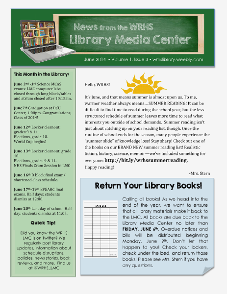 News from the WRHS Library Media Center June 2014