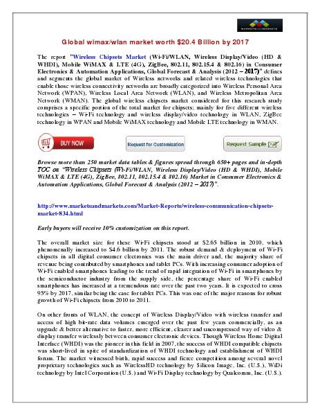 Global Wimax Market worth $20.4 Billion by 2017 March 2014