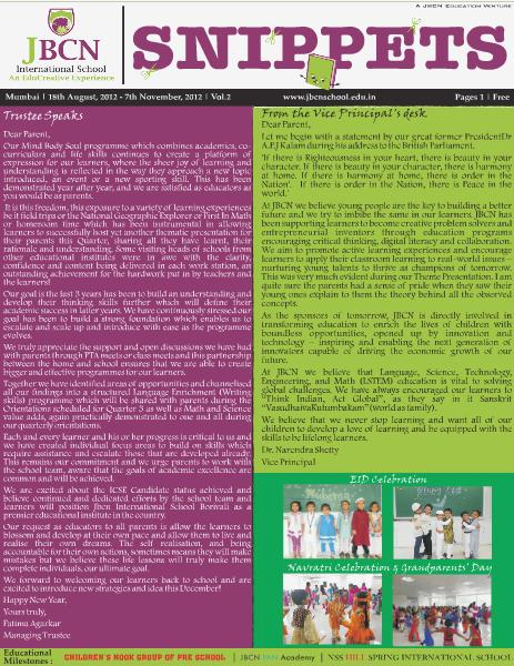 JBCN Newsletter-Snippets -Quarter 2 18th August, 2012 - 7th November, 2012