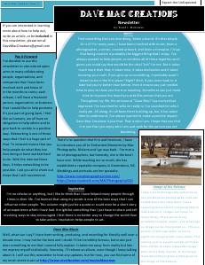 Dave Mac Creations Newsletter Feb. 2014