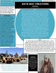 Dave Mac Creations Newsletter