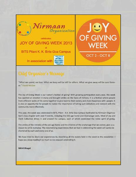 JGW newsletter - BITS Goa 2013