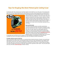 Tips for Buying the Best Motorcycle  Safety Gear