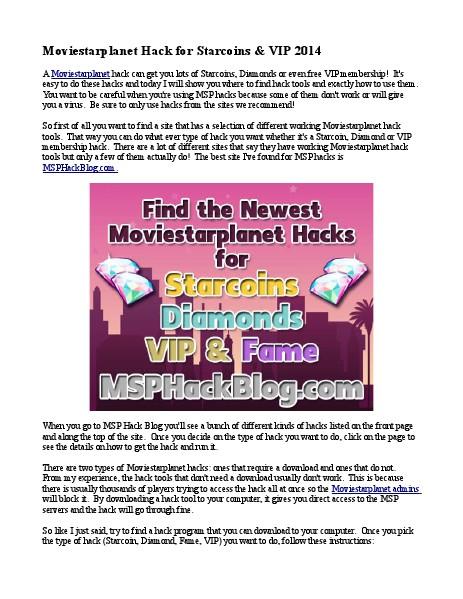 Movie Star Planet Hack 2014 1