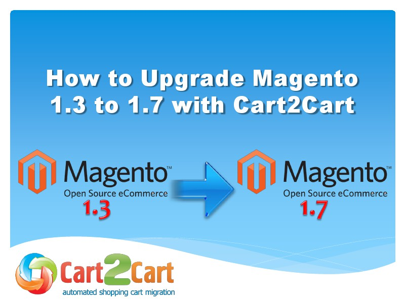 Cart2Cart Migration Service Upgrade Magento 1.3 to 1.7 in a Blink of Eye