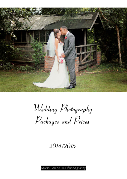 Wedding Packages And Prices 2014 15 For Marie Louise Hall Photography February 2013