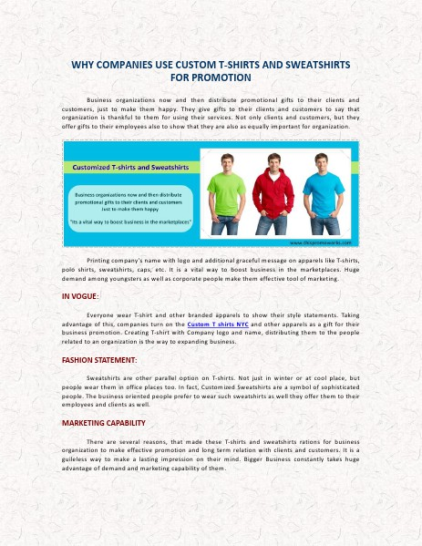 Why Companies Use Custom T Shirts And Sweatshirt Nyc For Promotions