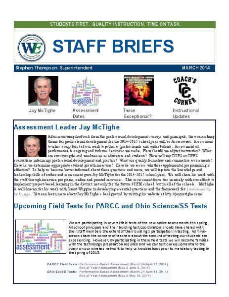 Staff Briefs March, 2014