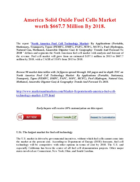 America Solid Oxide Fuel Cells Market worth $667.7 Million By 2018. March 2014