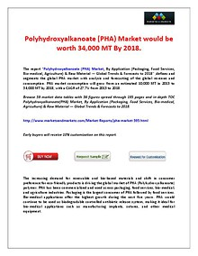 Polyhydroxyalkanoate (PHA) Market Trends and Forecasts by 2018.