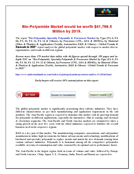 Bio-Polyamide Market would be worth $41,769.5 Million by 2019 June 2014