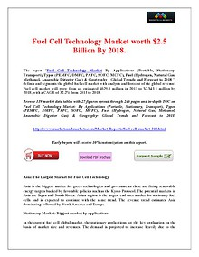 Fuel Cell Technology Market would be worth $2.5 Billion, with a CAGR of 32.2% from 2013 to 2018.