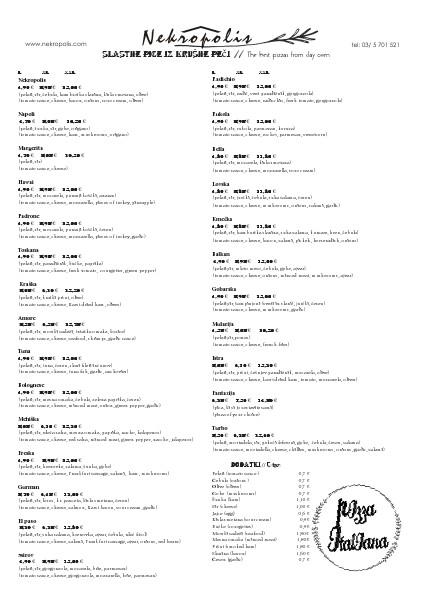 JEDILNI LIST - NEKROPOLIS Jedilni list, Nekropolis 2014