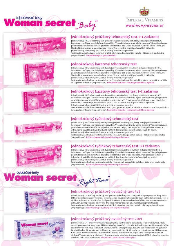Produktové portfólio Woman secret - krátke aktuálne