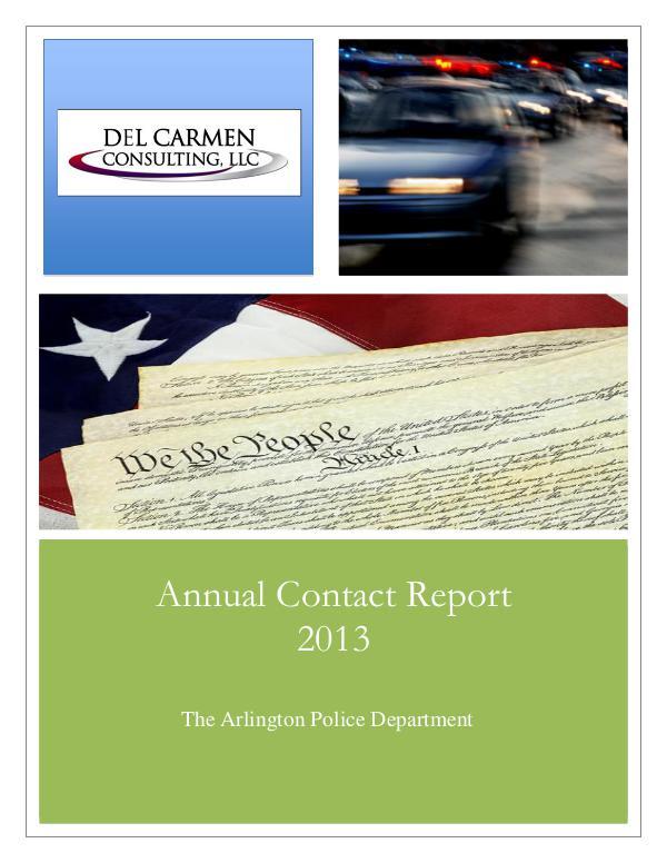 Racial Profiling Reports 2013 Racial Profiling Report