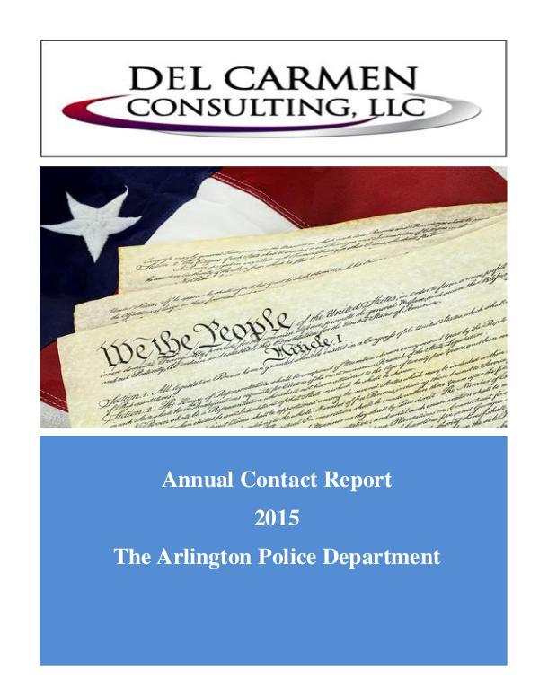 Racial Profiling Reports 2015 Racial Profiling Report