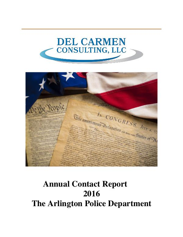 Racial Profiling Reports 2016 Racial Profiling Report