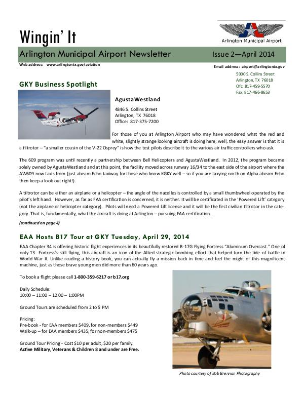 Wingin' It - Arlington Municipal Airport Newsletter Wingin' It - Issue 2 - April 2014