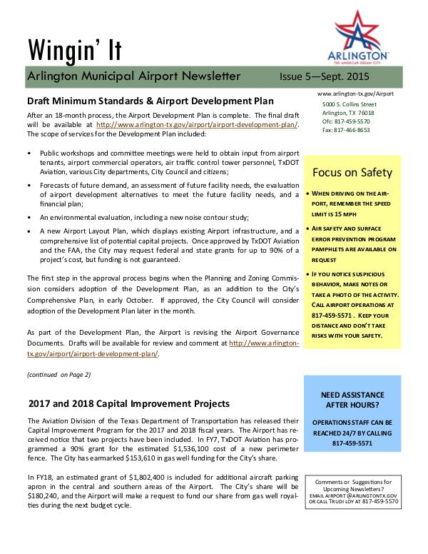 Wingin' It - Arlington Municipal Airport Newsletter Wingin' It - Issue 5 - September 2015