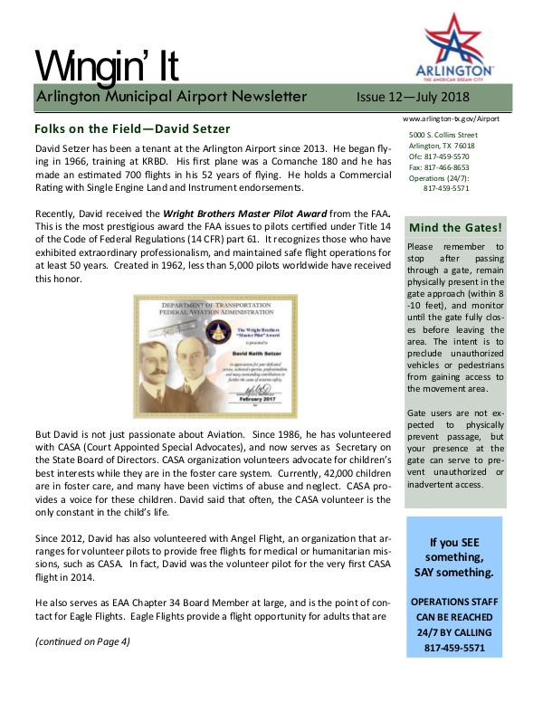 Wingin' It - Arlington Municipal Airport Newsletter Wingin' It - Issue 12 - July 2018
