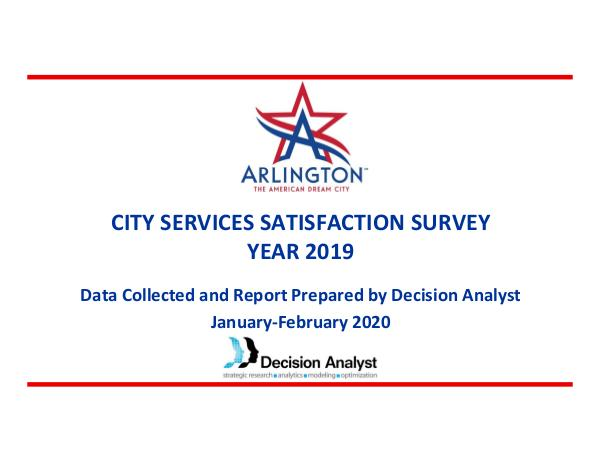 City Services Satisfaction Survey 2019 City Services Satisfaction Survey