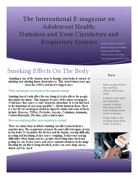 The International E-magazine on Adolescent Health;  Nutrition and Your Circulatory and Respiratory Systems The International E-magazine on Adolescent Health;
