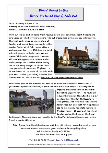 BMW Club Oxford Section Ride Outs - April 5th 2014