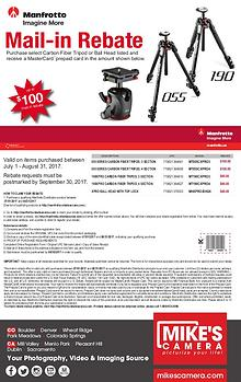 Manfrotto Special Rebates and Announcements