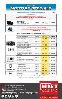 Olympus Special Rebates and Announcements
