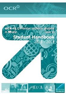 OCR Cambridge Technicals in Media (year 1) handbook - 2013-14