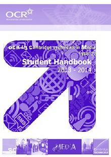 OCR Cambridge Technicals in Media student handbook 2013-14 (year 2)