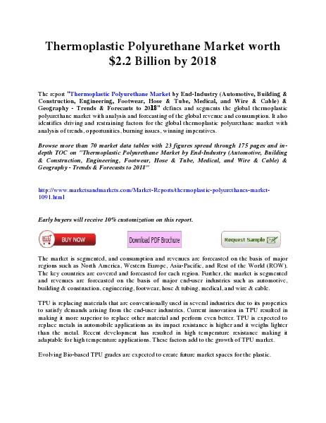 Thermoplastic Polyurethane Market worth $2.2 Billion by 2018 March 2014