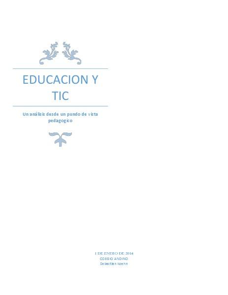 Educacion y Tic march. 2014