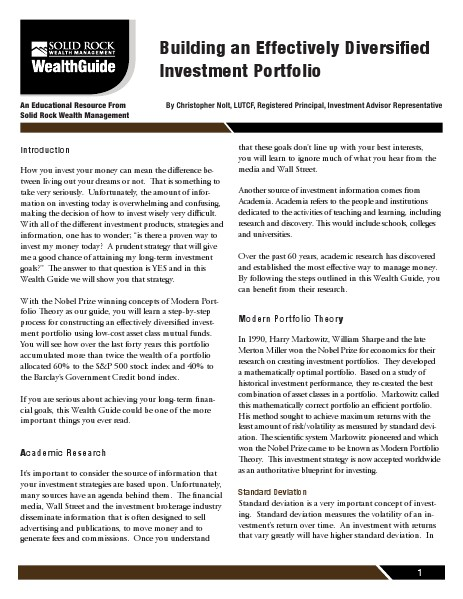 Free Wealth Management Guide Building An Effectively Diversified Investment Por