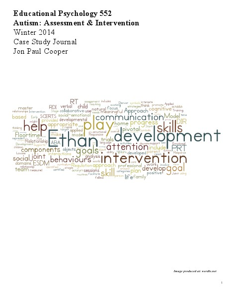 EdPy 552, Autism: Assessment & Intervention Volume 1