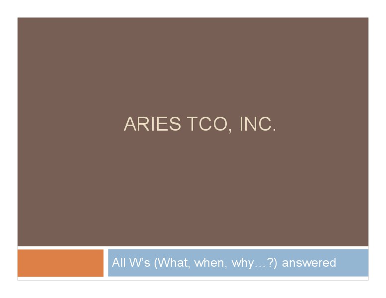 Aries Tco Solutions - The Final Solution solution integrator