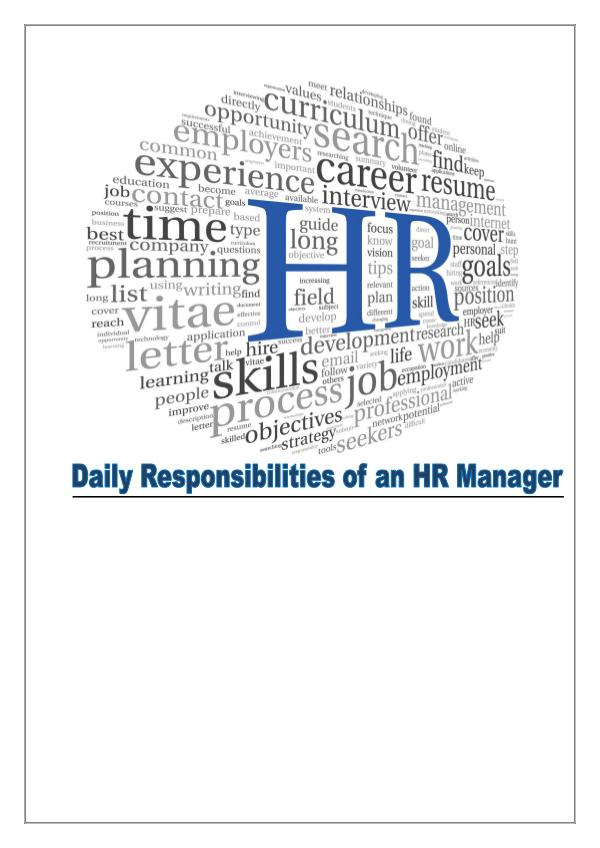HR Manager's Roles and Responsibilities 1