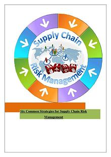 Few Strategies For Supply Chain Risk Management